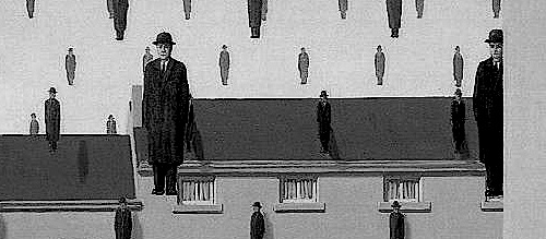 Detail from 'Golconde' by René Magritte.
